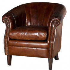 Roosevelt Leather Tub Chair Brown | Occasional Chairs | Seating | Seating | Leather Furniture
