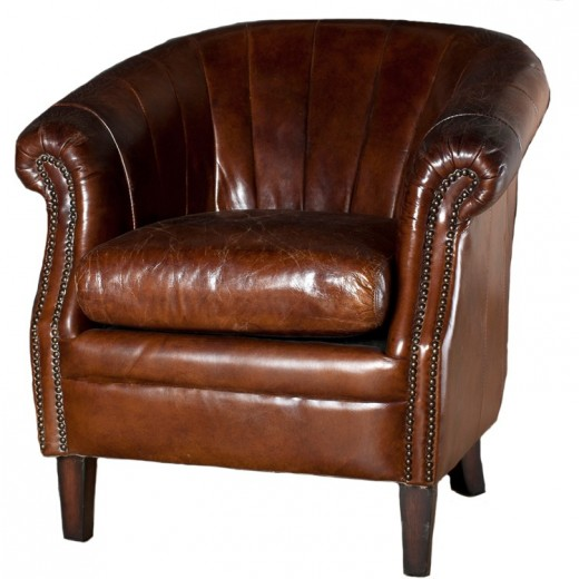 Roosevelt Leather Tub Chair Brown