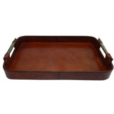 Leather Tray with Brass Handles | Home Décor & Gifts | Leather Furniture