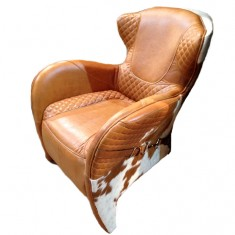 Rodeo Columbia Brown Leather & Hide Chair | Occasional Chairs | Seating | Seating | Leather Furniture
