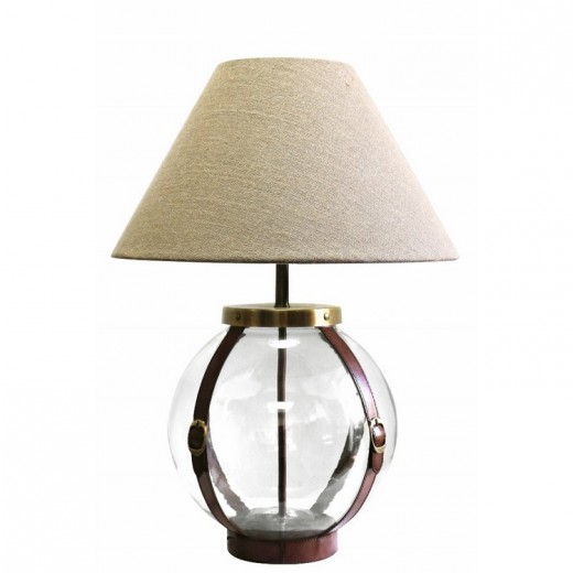 Glass Round Lamp With Leather | Table Lamps | Leather Furniture