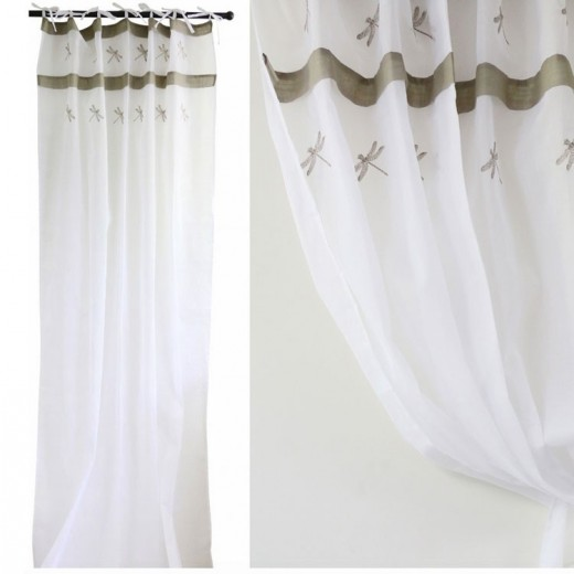 White Voile Curtain with Dragonflies Set 2 | Curtains