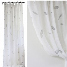 White Linen Voile Curtain with Feathers Set 2 | Curtains