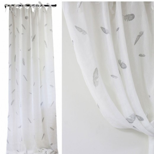 White Linen Voile Curtain With Feathers Set 2