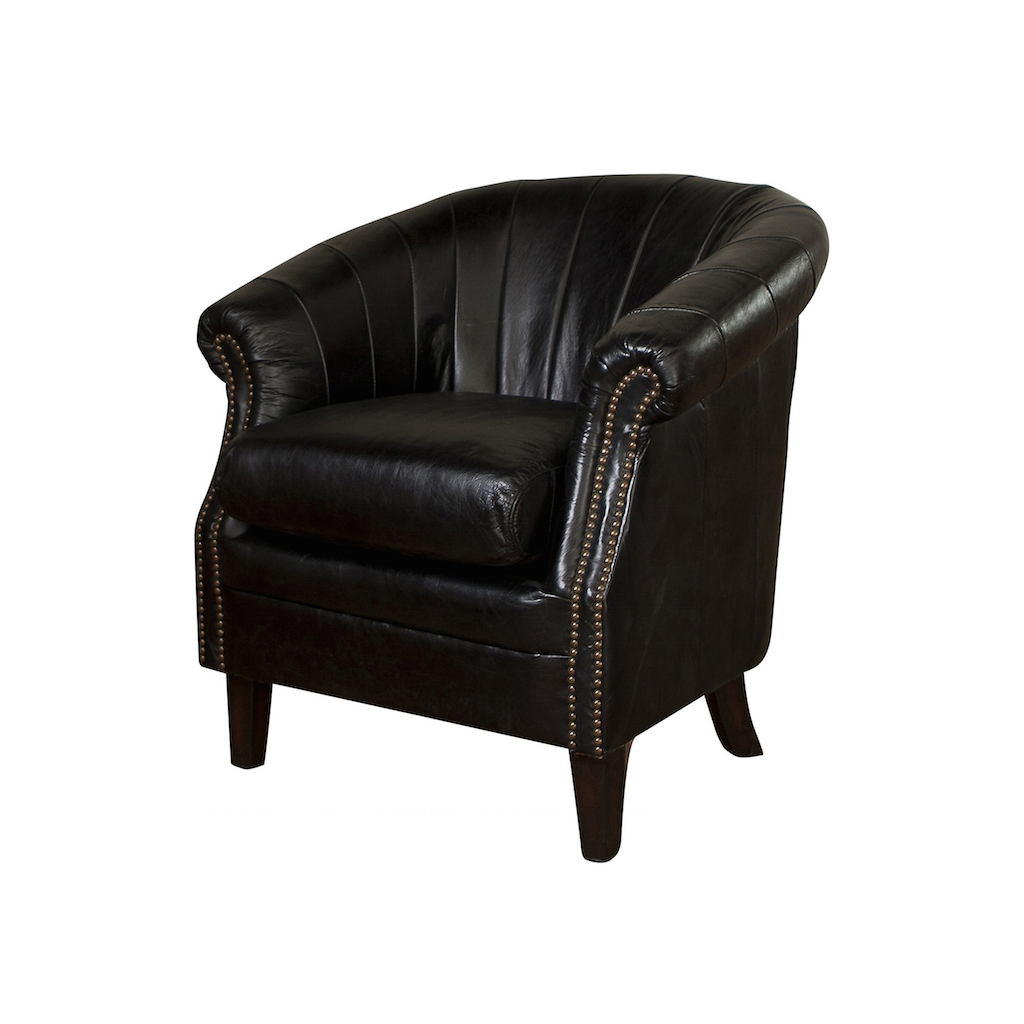 black leather tub chair roosevelt leather tub chair black seating occasional 11259 | roosevelt leather tub chair black