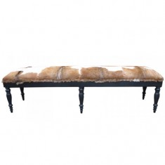 Goat Skin Stool Long Brown & White | Seating | Benches & Ottomans | Seating