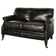 Lancaster 2 Seater Sofa Black Leather | Seating | Sofas | Leather Furniture