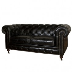Grange  Black Leather Sofa 2 Seater | Seating | Sofas | Seating | Seating
