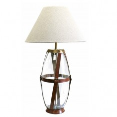 Glass & Leather Lamp Tall | Table Lamps