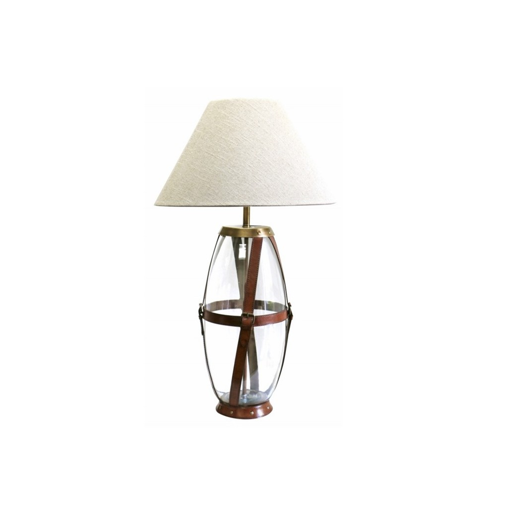 Glass Amp Leather Lamp Tall