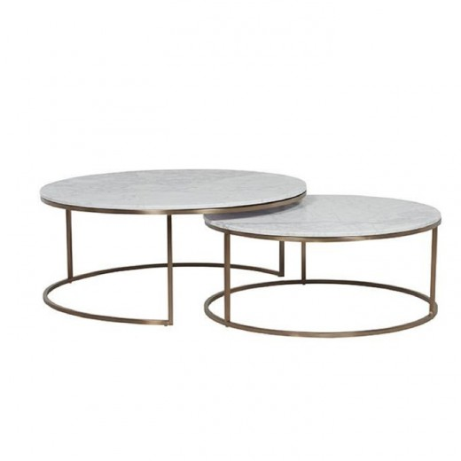 Glass Coffee Tables Nz: Elle Nesting Coffee Tables Marble & Brushed Brass
