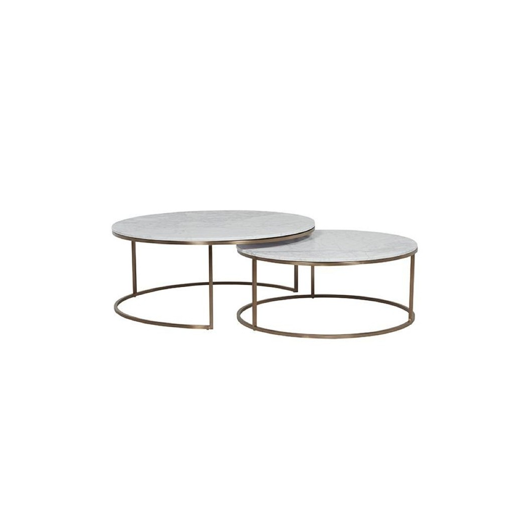 Elle nesting coffee tables white brass tables coffee for White nesting coffee table