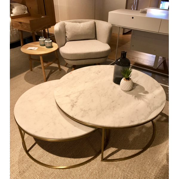 Elle Nesting Coffee Tables Marble & Brushed Brass | Tables ...