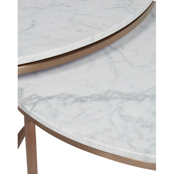 Elle Nesting Coffee Tables Marble Brushed Brass Tables Coffee Tables Tables Ido Interior Design Online