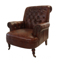 Conrad Brown Leather Library Chair  | Leather Furniture | Occasional Chairs | Seating
