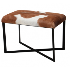 Anouk Goat Skin Stool Brown  | Ottomans and Chaises | Stools | Seating
