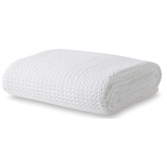 Washed Waffle Blanket Queen/King White  | Bed Linen