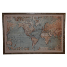 Vintage World Map With Lights | Wall Art