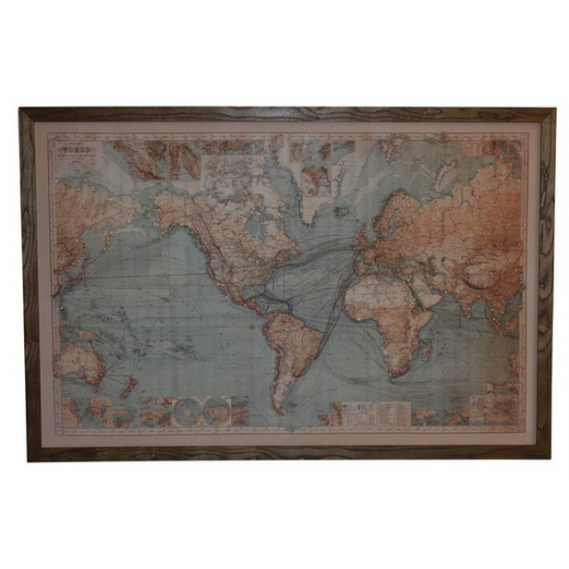 Vintage world map with lights wall art sale ido interior vintage world map with lights gumiabroncs Images