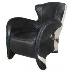 Rodeo Black Leather & Hide Chair  | Leather Furniture | Occasional Chairs | Seating