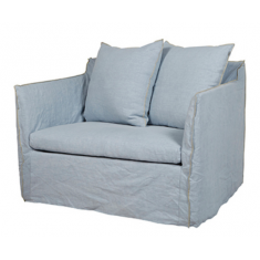 Marcella Slip Cover Arm Chair Pale Blue Linen  | Occasional Chairs | Seating | Seating