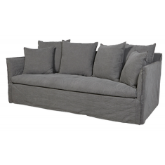 Marcella Slip Cover 3 Seat Sofa Washed Smoke Linen  | Sofas | Seating | Seating | Seating