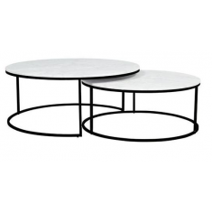 Elle Nesting Coffee Tables White Marble  & Black Base | Coffee Tables | Tables | Tables