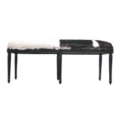 Goat Skin Double Stool Black and White | Ottomans and Chaises