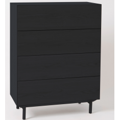 Compound Four Drawer Chest Black Oak  | Drawers & Chests | Chests