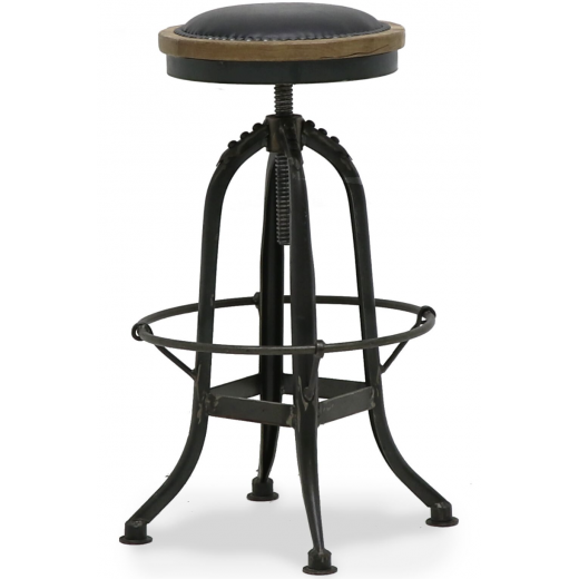 Pedro Industrial Stool Black  Leather | Stools | Seating | Seating | Leather Furniture
