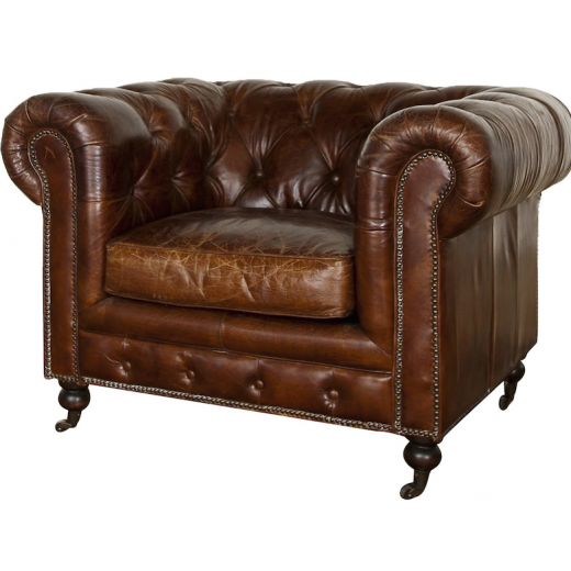 Grange  Leather Arm Chair Cigar | Occasional Chairs | Seating | Seating | Leather Furniture