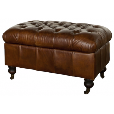 Grange Opening Ottoman Cigar | Ottomans and Chaises | Seating | Seating | Leather Furniture