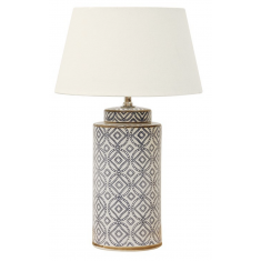 BLUE & WHITE CERAMIC CYLINDER LAMP | Table Lamps