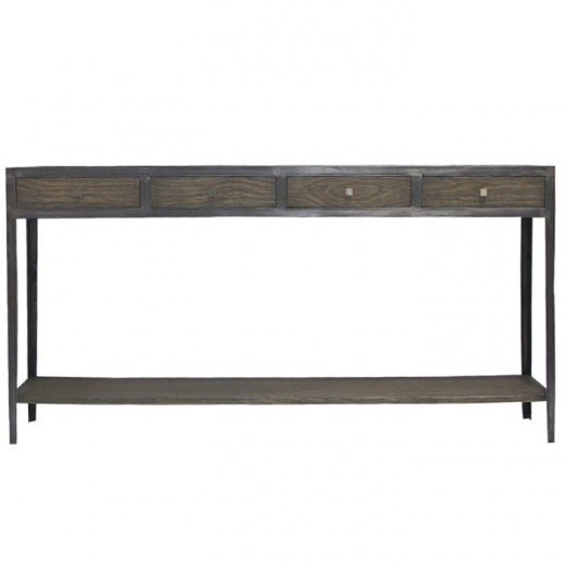 Engineer Console Oak & Raw Iron  | Sideboards & Consoles | Sideboards and Consoles | Sideboards and Consoles