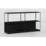 Linear Adjustable Low Oak Shelf - Black