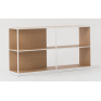 Linear Adjustable Low Oak Shelf - Natural White