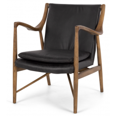 Finn Leather Arm Chair Black Leather  | Occasional Chairs | Seating | Seating