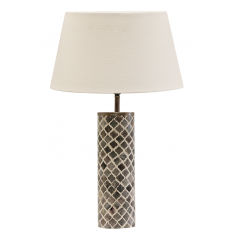 BONE & BRASS ROUND GREY & WHITE LAMP | Table Lamps