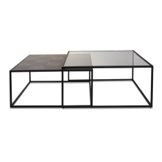 Sanderson Nesting Coffee Table Oak & Glass  | Coffee Tables | Tables | Tables | Tables