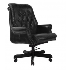 Bankers Buttoned Leather Chair Black  | Occasional Chairs | Seating