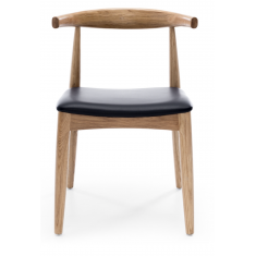 Elbow Chair Natural Oak Black PU Seat | Dining Chairs | Seating | Seating