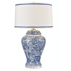 Athena Urn Blue & White Lamp  | Table Lamps