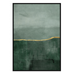 Canvas Wall Art Green with Gold Line  | Wall Art