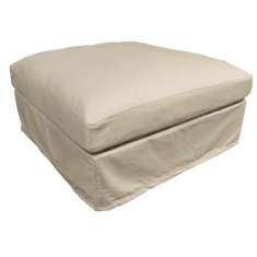 Chalet Slip Cover Ottoman Salt & Pepper    Benches & Ottomans   Seating   Seating
