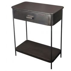Iron Industrial Side Table with Drawer | Bedside Tables | Bedroom | Tables | NEW ARRIVALS