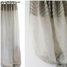 Natural Linen Voile Curtain with Pleated Top Set 2 | Curtains